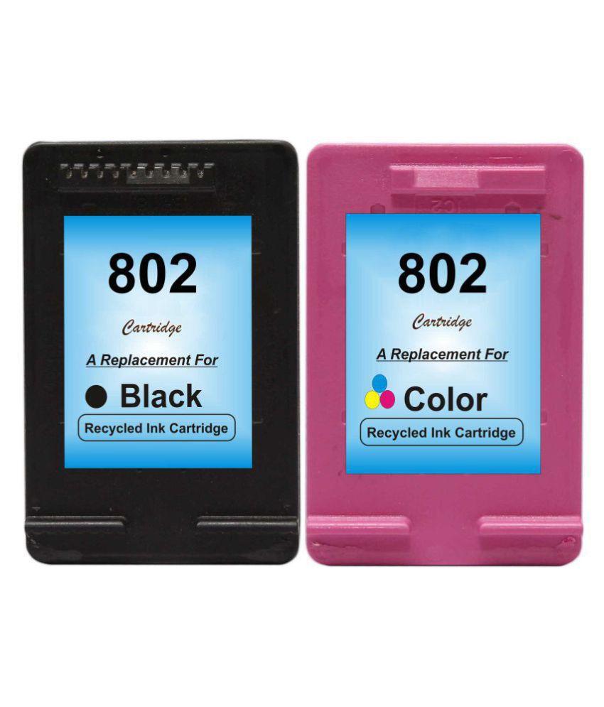 RPS 802Black  amp; 802Color Multicolor Pack of 2 Cartridge for HP printer deskjet 1000 1010 1011 1050 1510 1511 2000