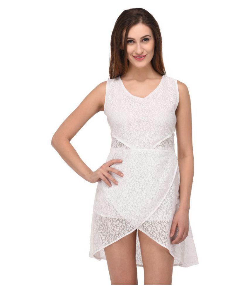 Triraj Net White Asymmetric dress