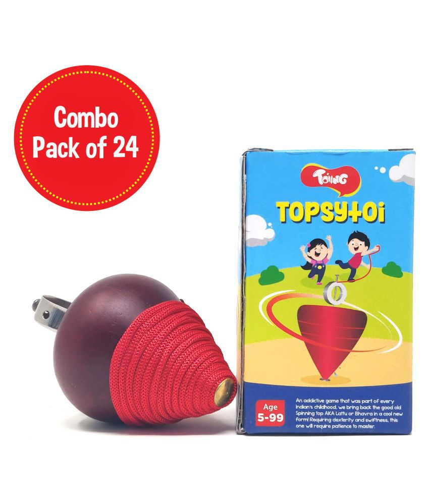 Toiing Topsytoi Return Gift Combo - Pack of 24 Traditional Wooden Spinning Top; Also Spins Upside Down