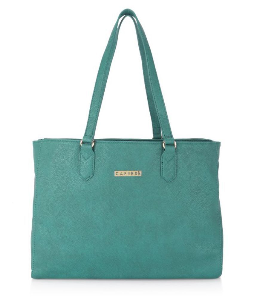 Caprese Green Faux Leather Tote Bag