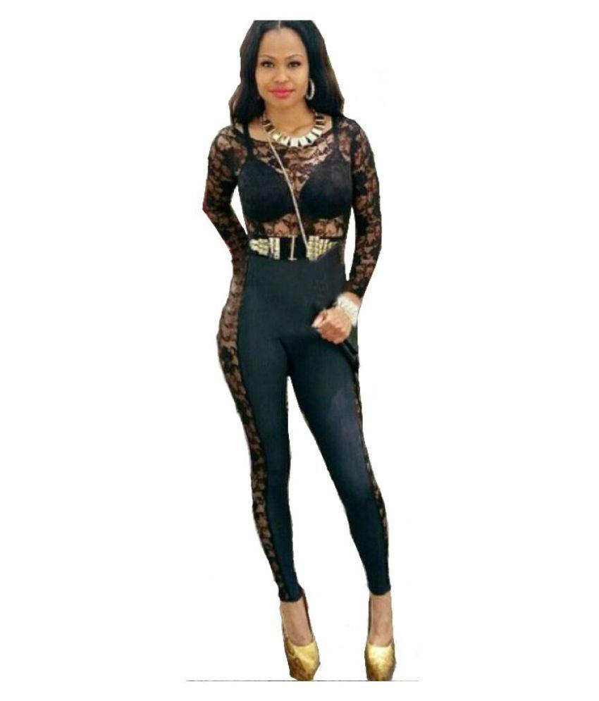 Cloe Valentine Black Polyester Jumpsuit