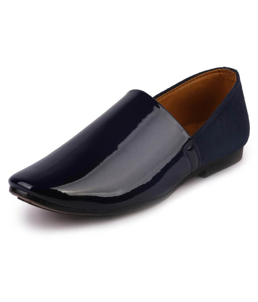 Fausto Slip On Artificial Leather Blue Formal Shoes