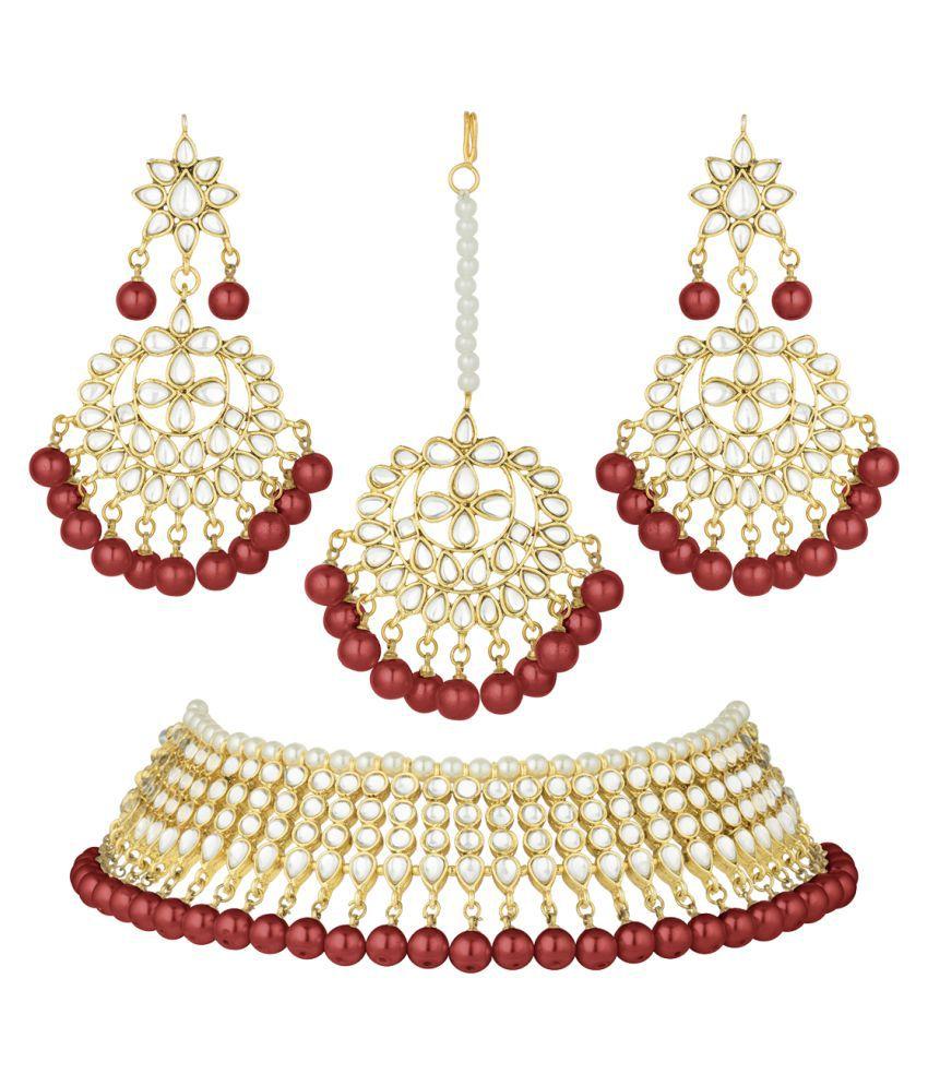 Peora Brass Maroon Choker Designer Gold Plated Necklaces Set