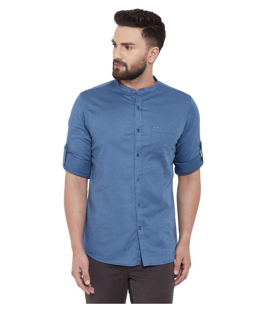 Canary London Linen Blue Solids Shirt