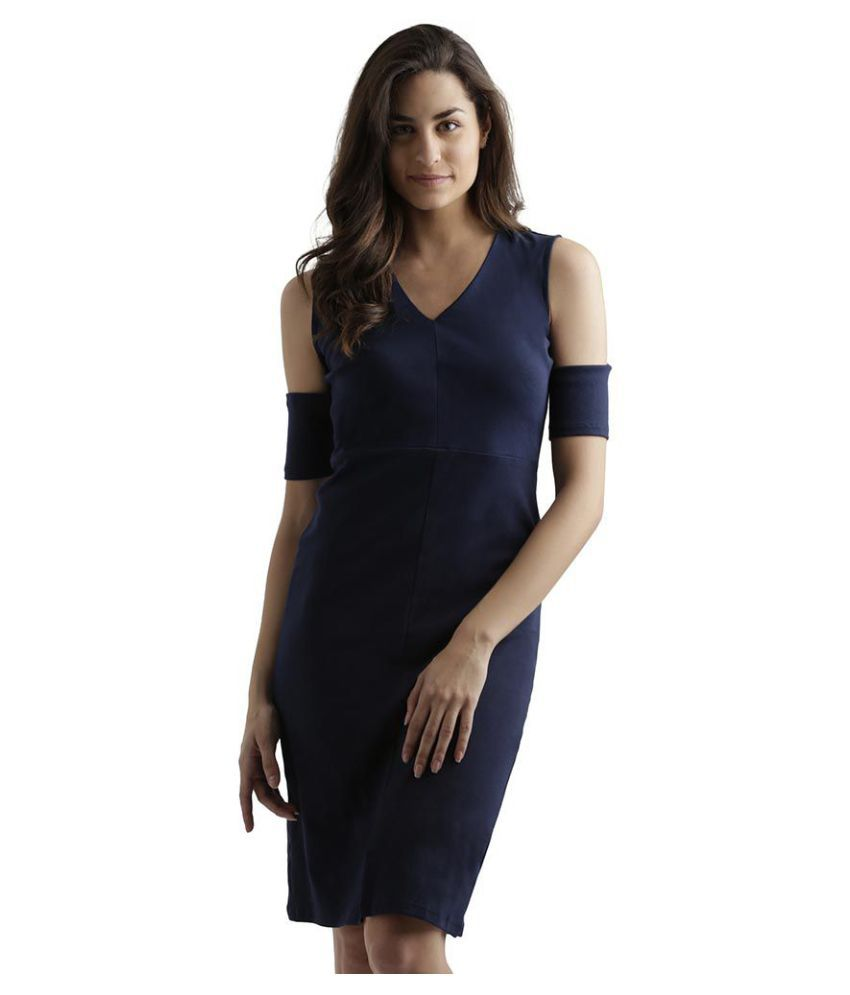 Miss Chase Cotton Navy Cut Out Dress