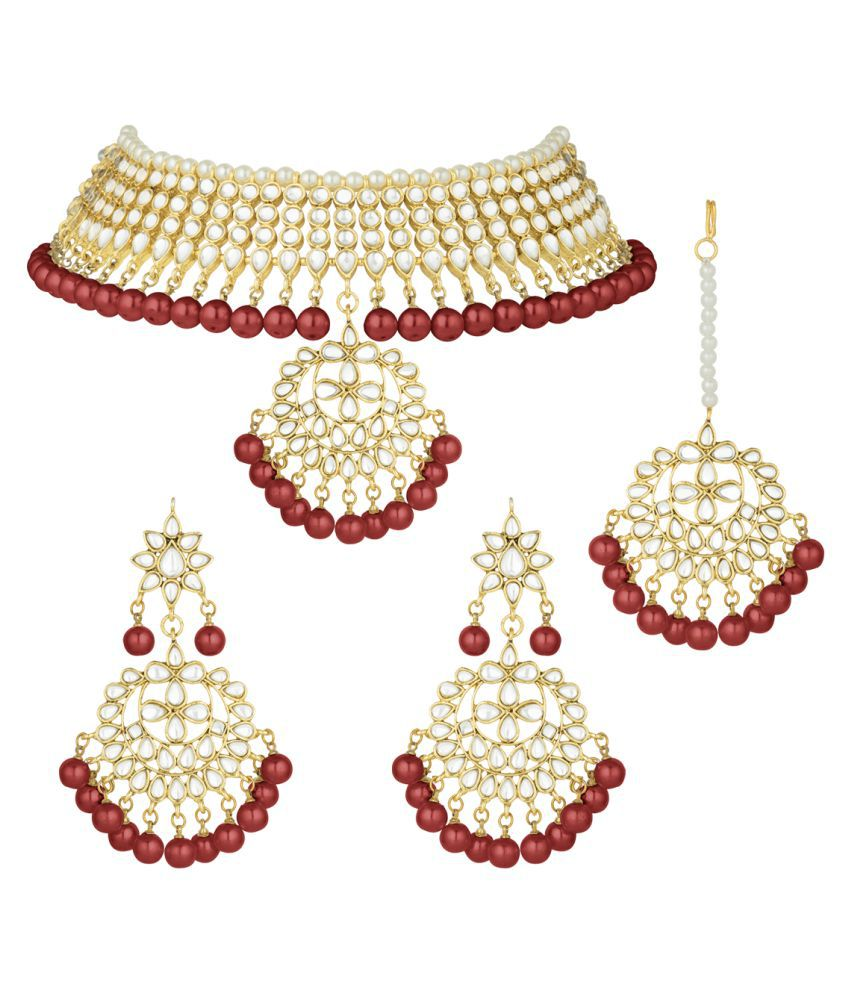 Peora Brass Maroon Choker Designer Gold Plated Necklaces Set