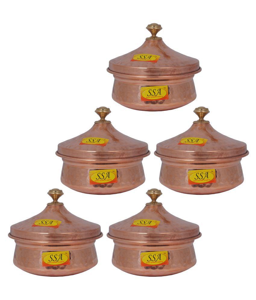 Shiv Shakti Arts Steel Copper Handi 5 Piece Cookware Set