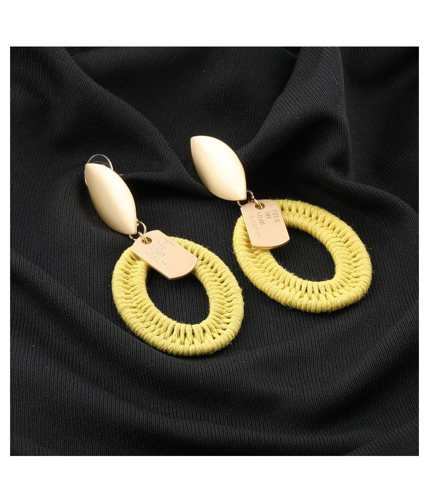 Silver Shine Designer Partywear Unique Yellow Colour Earring For Girls and Women Jewellery