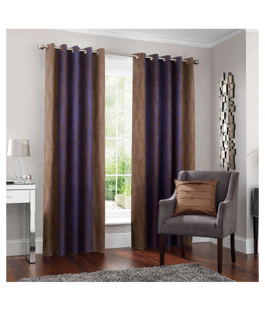Story@Home Set of 2 Door Semi-Transparent Eyelet Polyester Curtains Brown