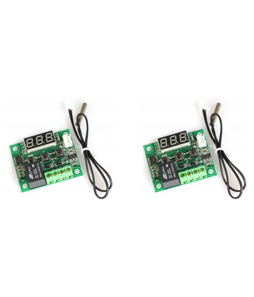 Arduino W1209  50-100 Digital Temperature Controller 12v and Sensor Thermostat, Green and Black (Pack of 2)