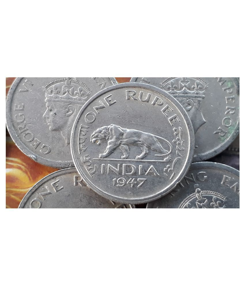 50 COINS LOT - British India - 1 R - KG VI 1947 Nickel – 11.8 g – ø 28 mm - Tiger - CIRCULATED Condition for PUJA PURPOSE