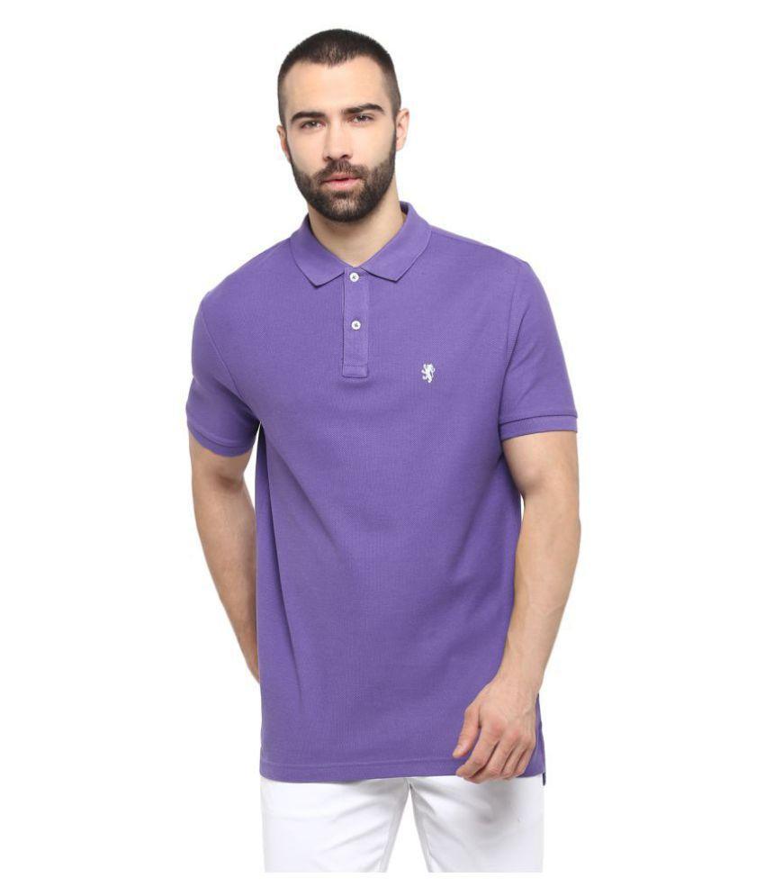 Red Tape 100 Percent Cotton Purple Plain Polo T Shirt