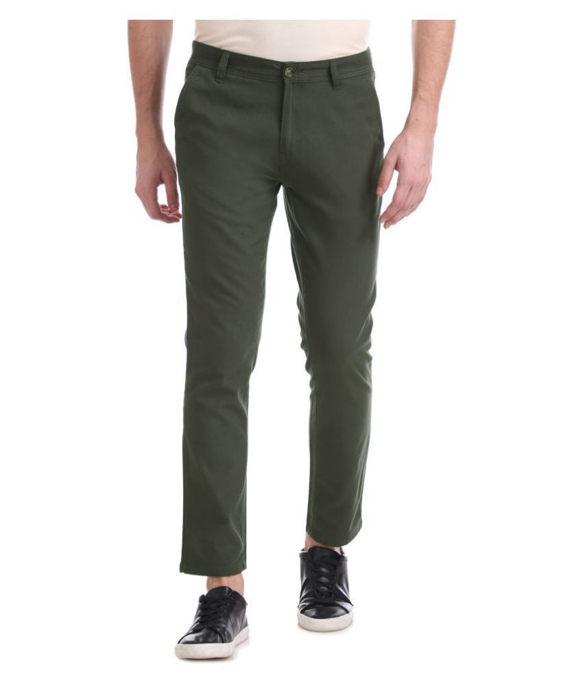 Ruf And Tuf Green Slim -Fit Flat Trousers