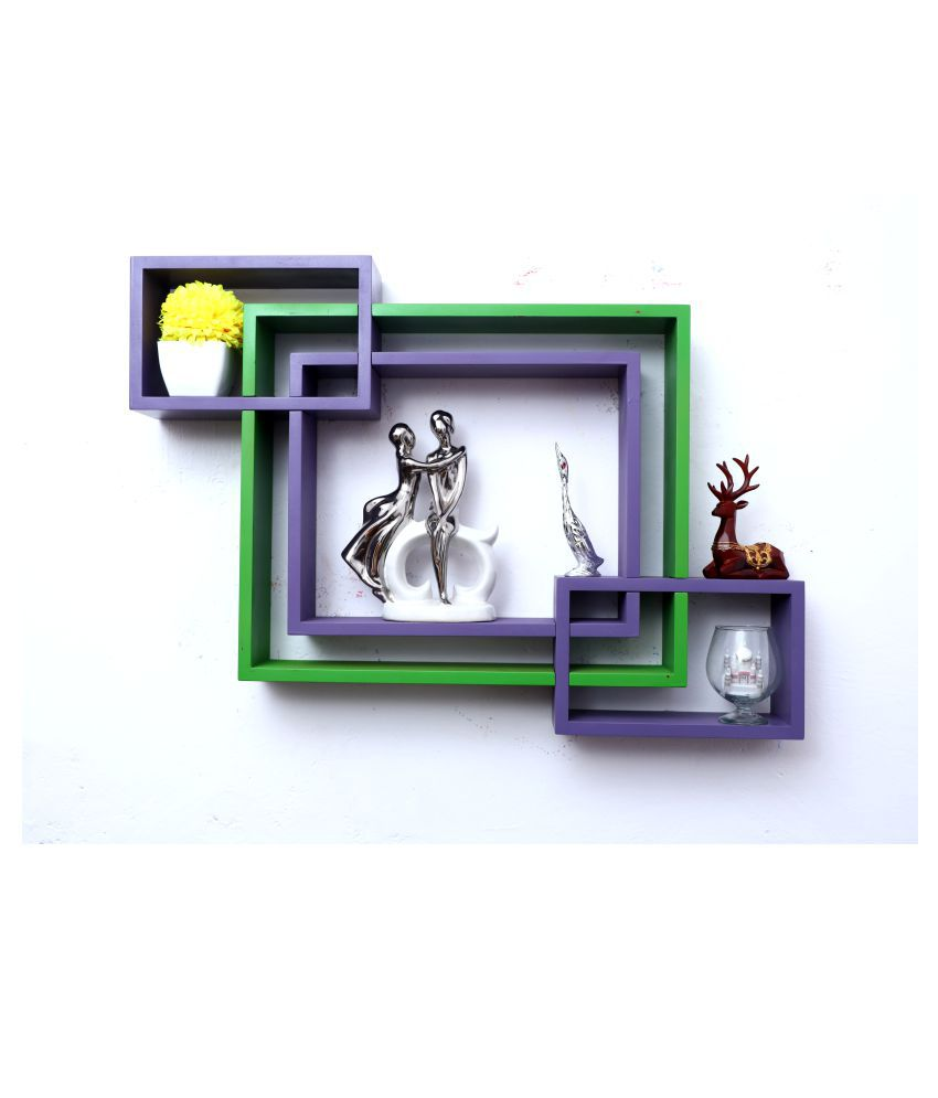 WOOD WORLD mdf wall mount shelf 4  Intersecting shape Wall Shelves Rack – purple-green