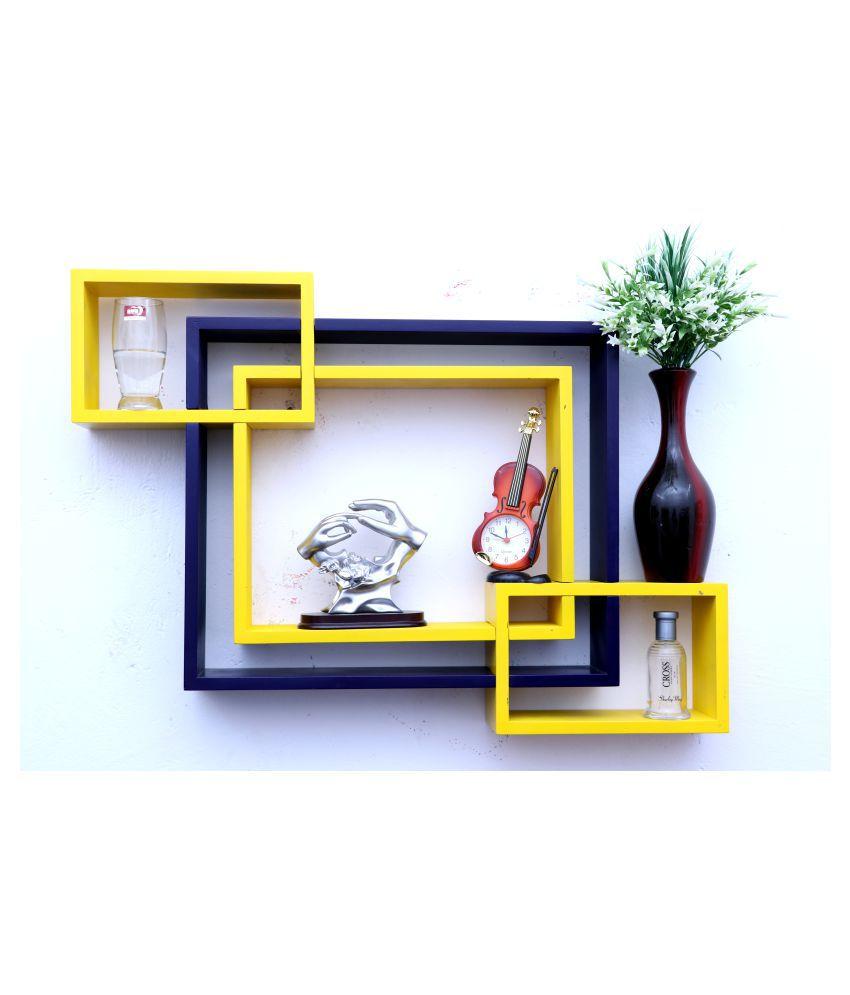 WOOD WORLD mdf wall mount shelf 4  Intersecting shape Wall Shelves Rack – yellow-blue