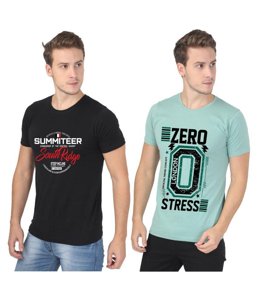 PLUSFIT 100 Percent Cotton Black Printed T-Shirt