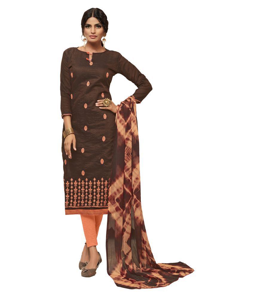 Maroosh Brown Silk A-line Semi-Stitched Suit