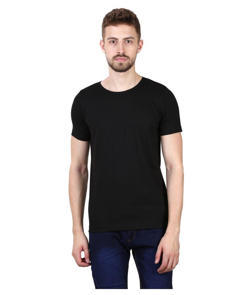 Rolly Men Black Solid Cotton T-shirt Regular Fit