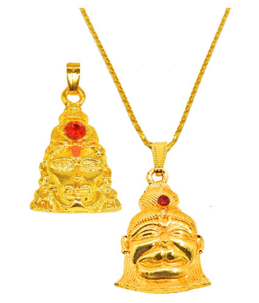 Men Style  Religious Jewelry  Lord Shankar Pendant With Earring  Gold-plated  Brass, Wood  Set of -2