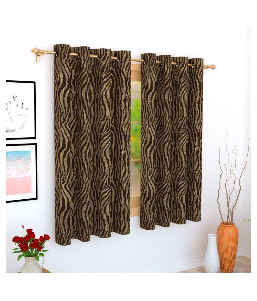Story@Home Single Window Blackout Room Darkening Eyelet Jute Curtains Brown