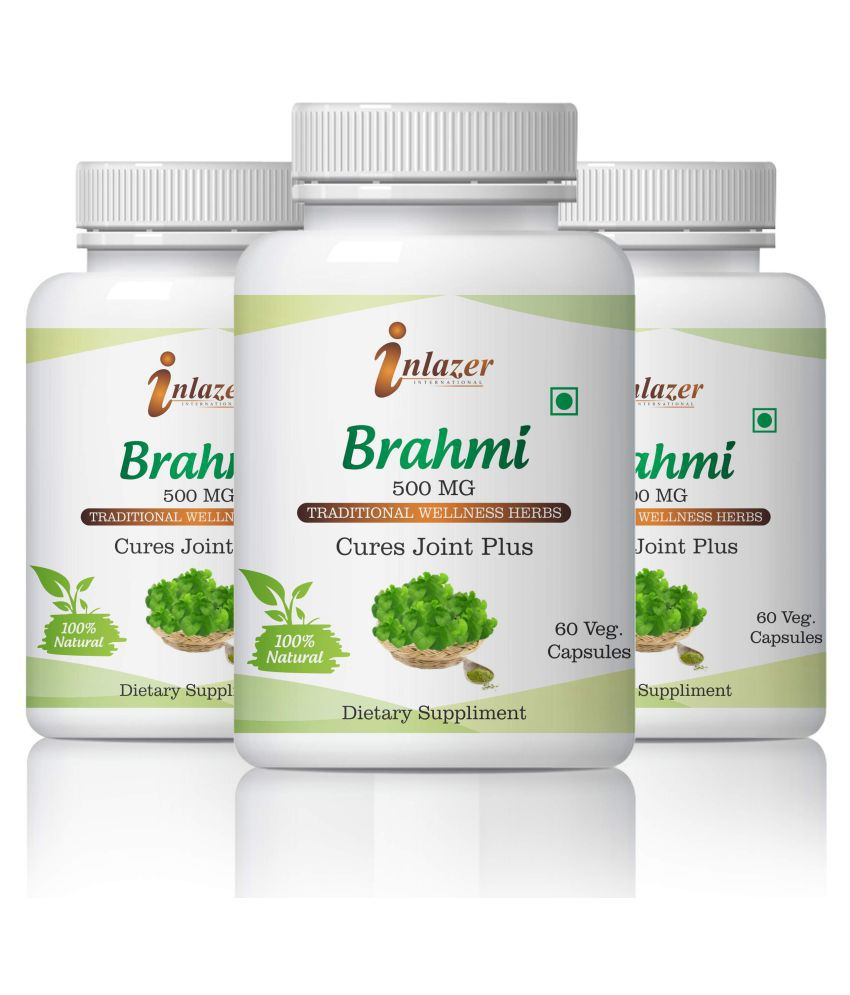 Inlazer Brahmi For Memory Focus & Concentration Capsule 500 mg Pack of 3