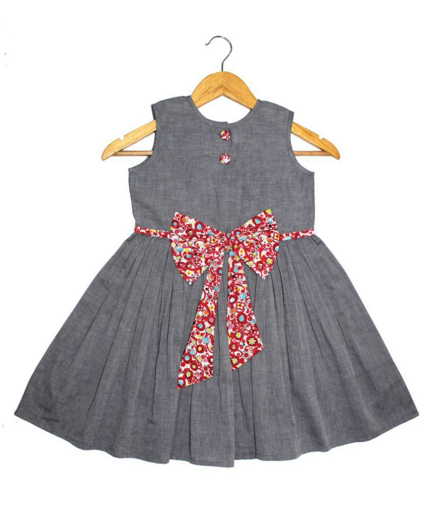 GOODWILL Girl's Casual Grey Poly Cotton Solid Frock