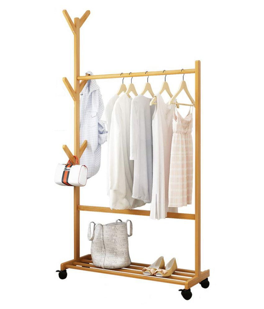 House of Quirk Single Rail Bamboo Garment Rack with 6 Side Hook Tree Stand Coat Hanger and Four Stable Leveling Feet for Jacket, Umbrella, Clothes, Hats, Scarf, and Handbags - (70cm)
