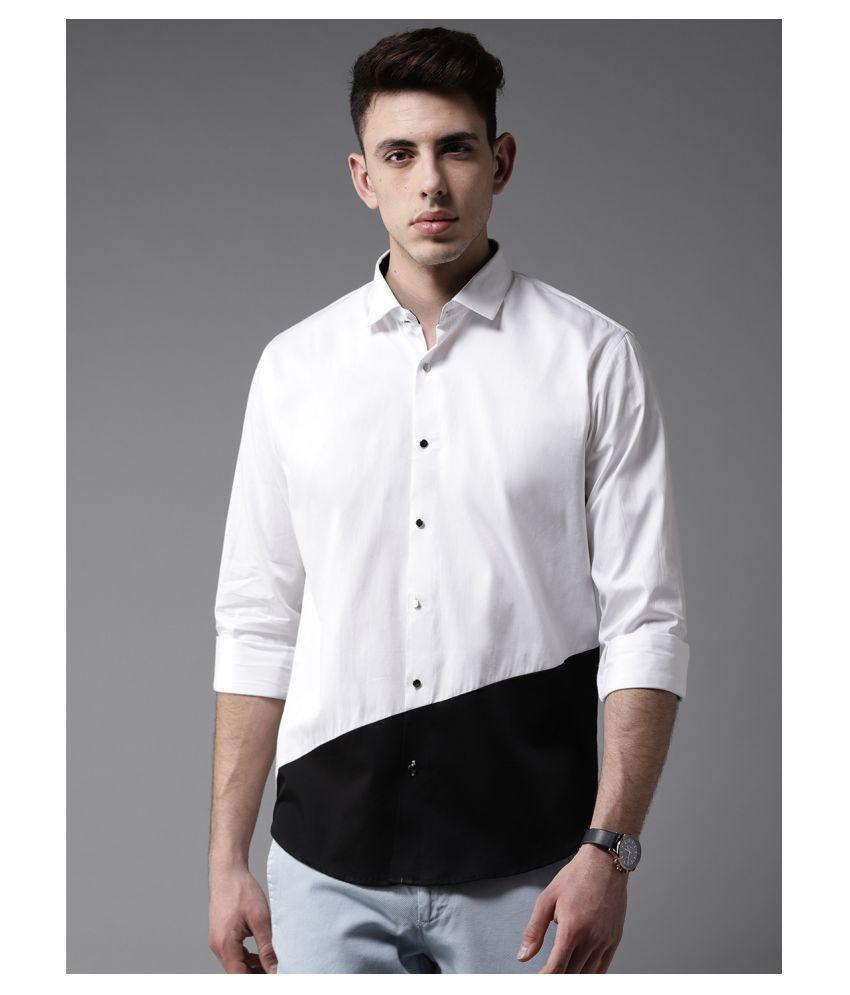 Dennison 100 Percent Cotton White Color Blocks Shirt