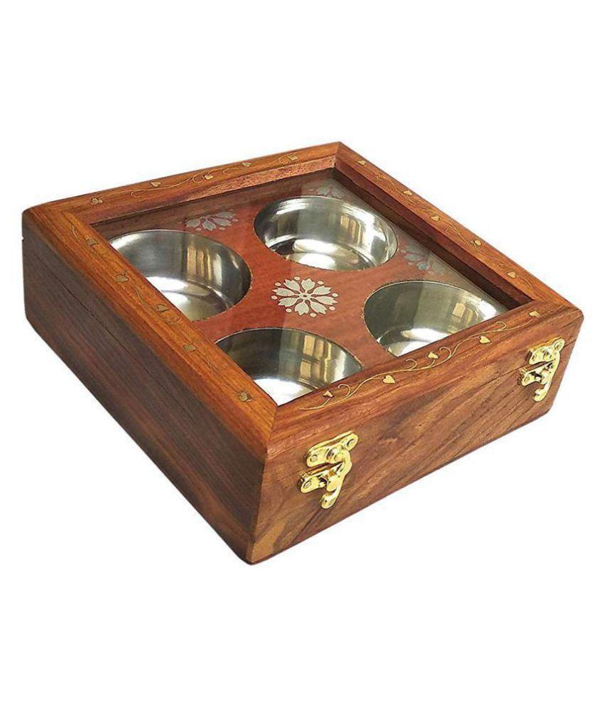 Doon International Wooden Spice Container Set of 1 300 mL
