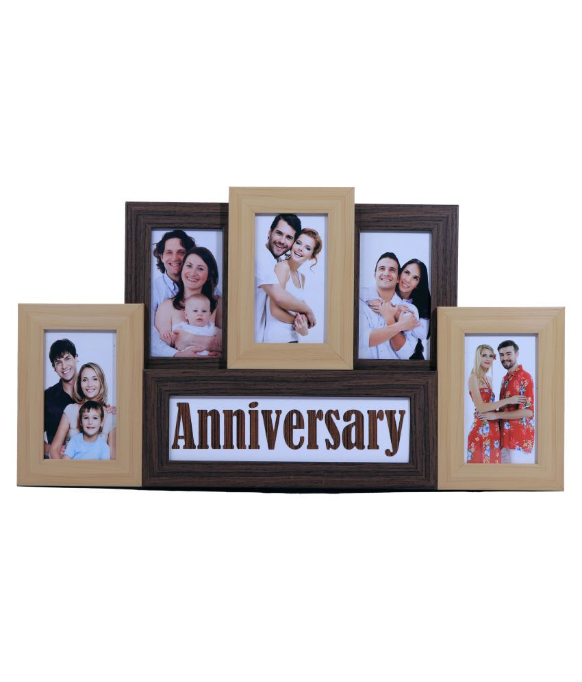 Art Affair Wood Table Top & Wall hanging Multicolour Collage Photo Frame - Pack of 5