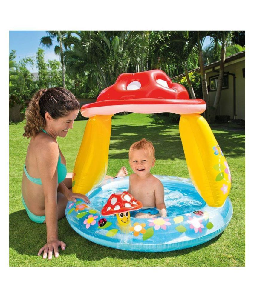 maruti enterprise Mushroom Baby Pool, Blue Soft Side Pool, Multi Color Inflatable Pool Born Baby Bath tub (Multicolor)