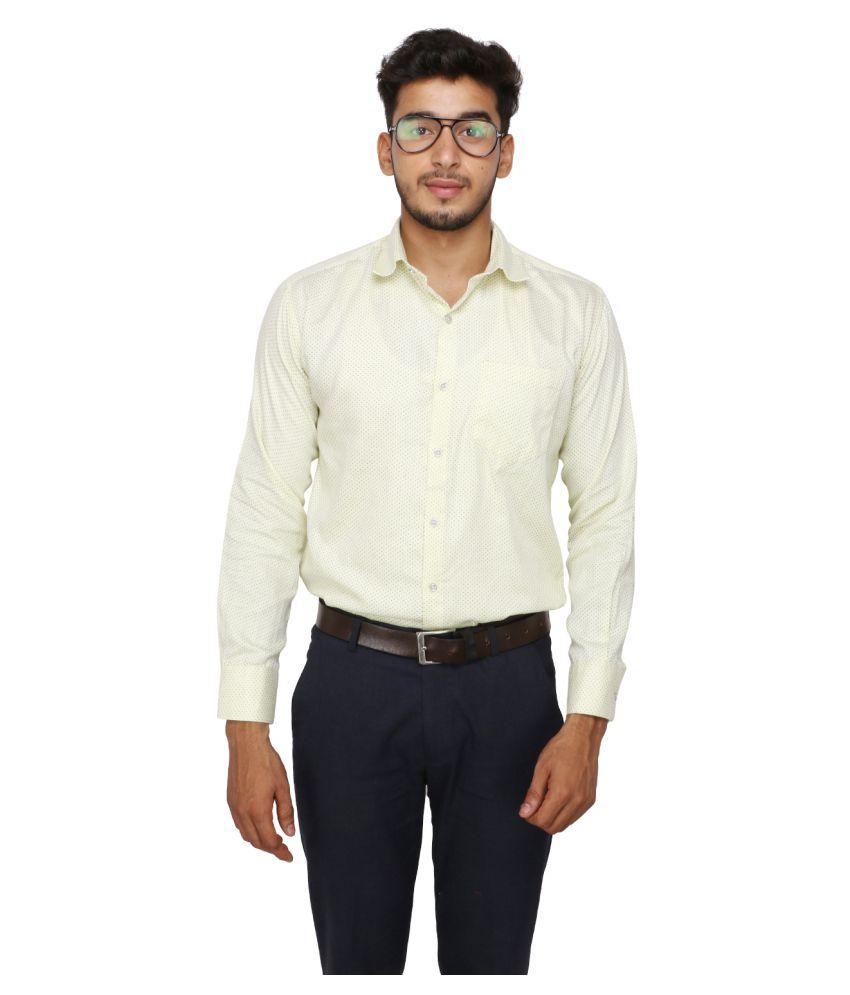 Koxko 100 Percent Cotton Beige Prints Shirt