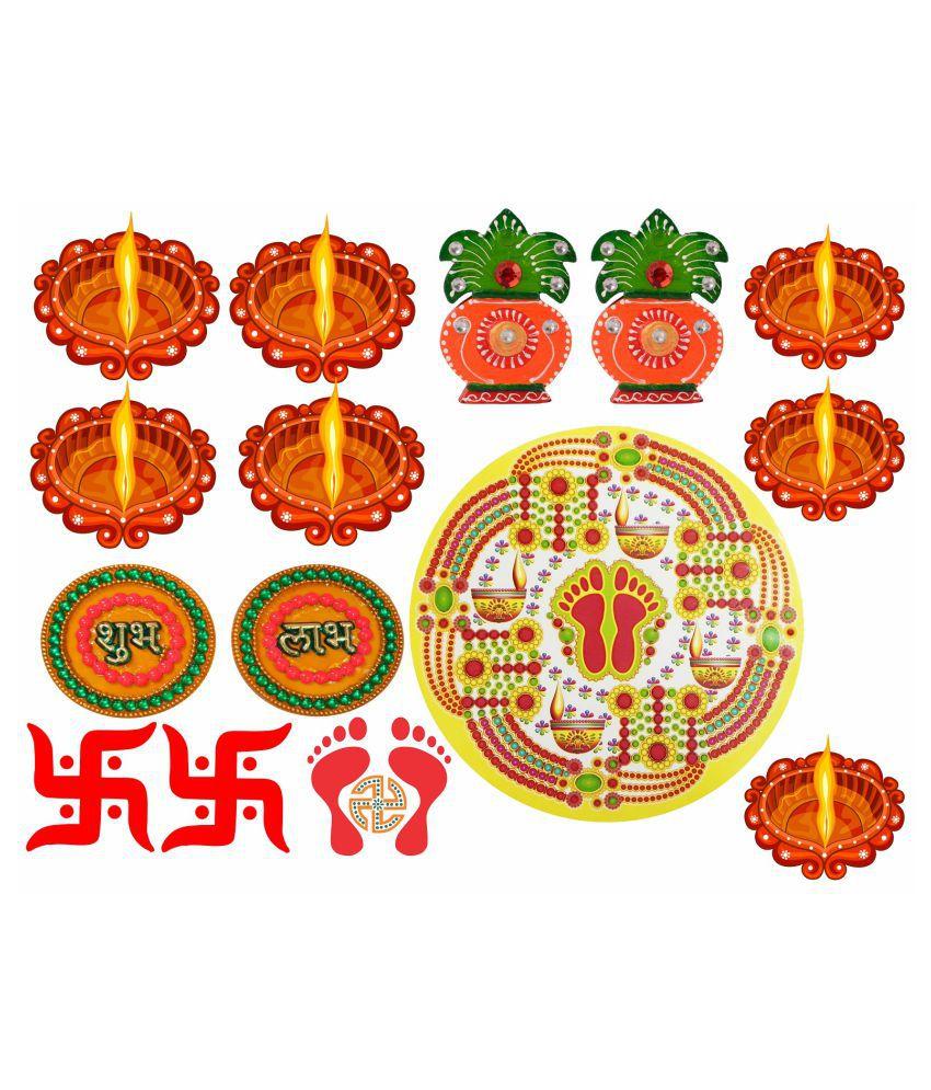 Decor Villa Happy Diwali combo  Festive Sticker ( 35 x 58 cms )