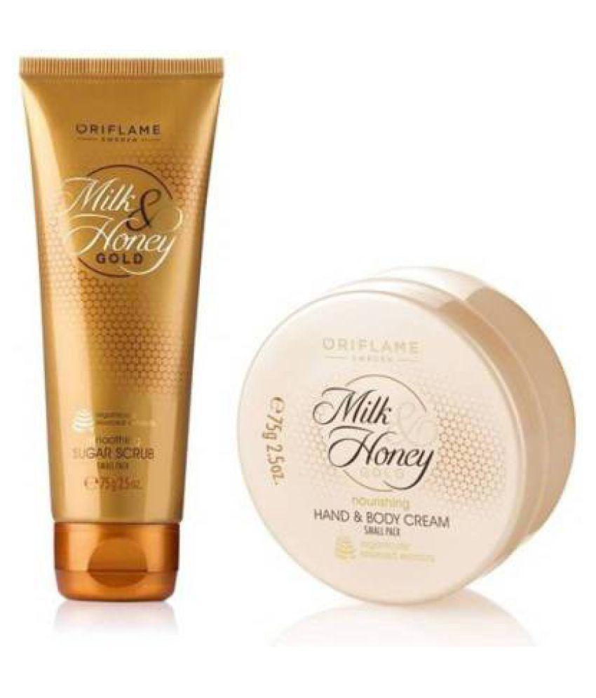 Milk & Honey Gold Nourishing Hand & Body Cream Smoothing Sugar Scrub Small  Pack Facial Scrub 20 gm