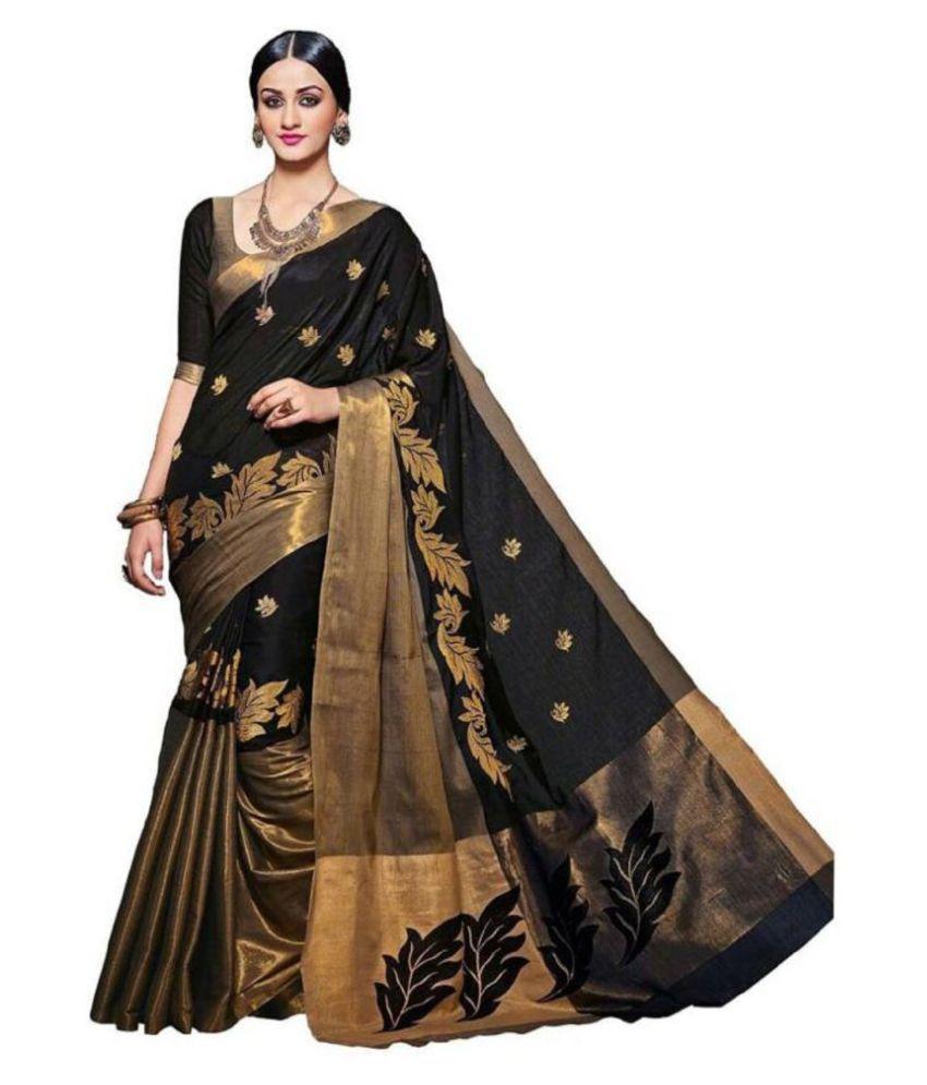 Rangrasiya Corporation Black Cotton Silk Saree