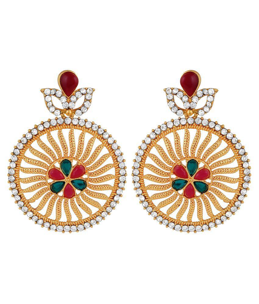 MFJ Fashion Fancy Round Shape Pink & Green Ruby Gold Plated Dangle Earring For Women