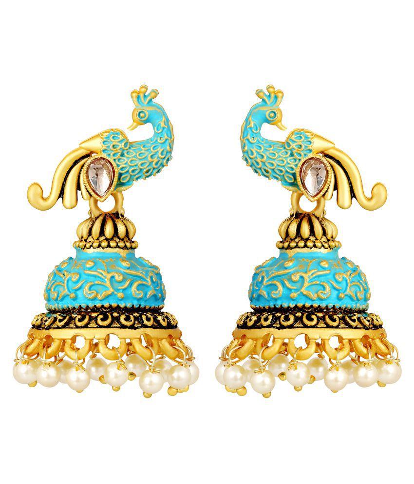MFJ Fashion Pleasant Peacock Meenakari Work Brass Gold Plated Jhumki Earring For Women