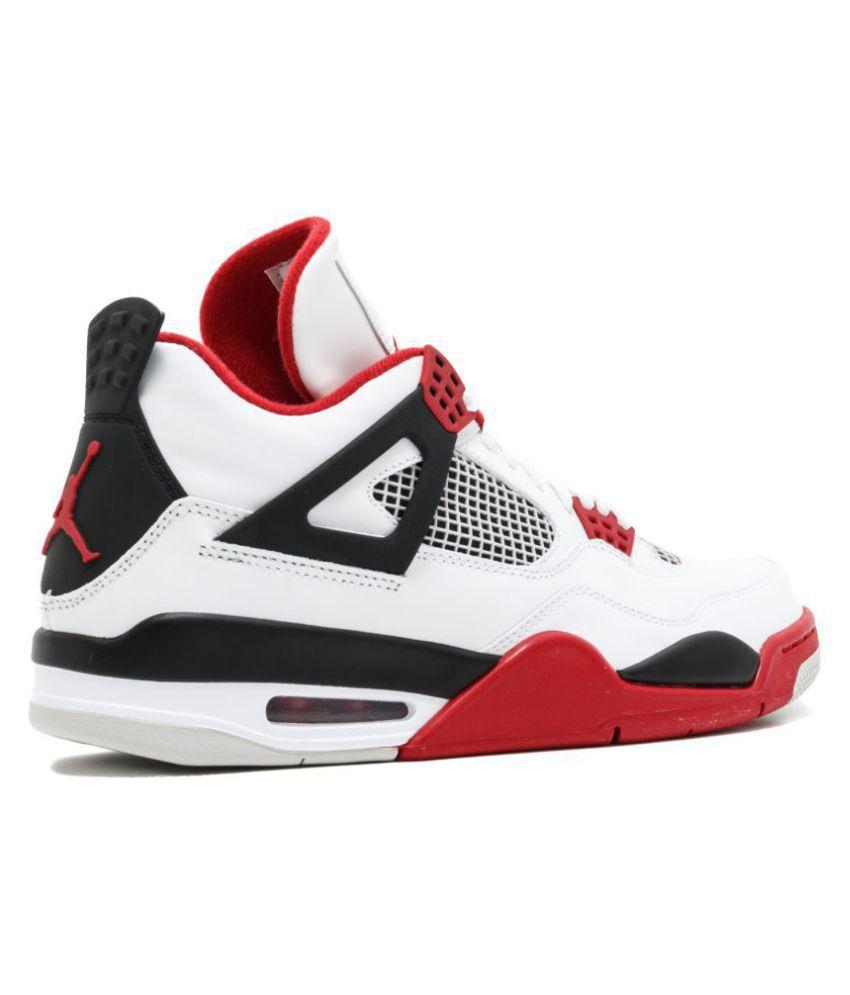 grand choix de 834c5 df1da Nike Air Jordan Retro 4 White Basketball Shoes
