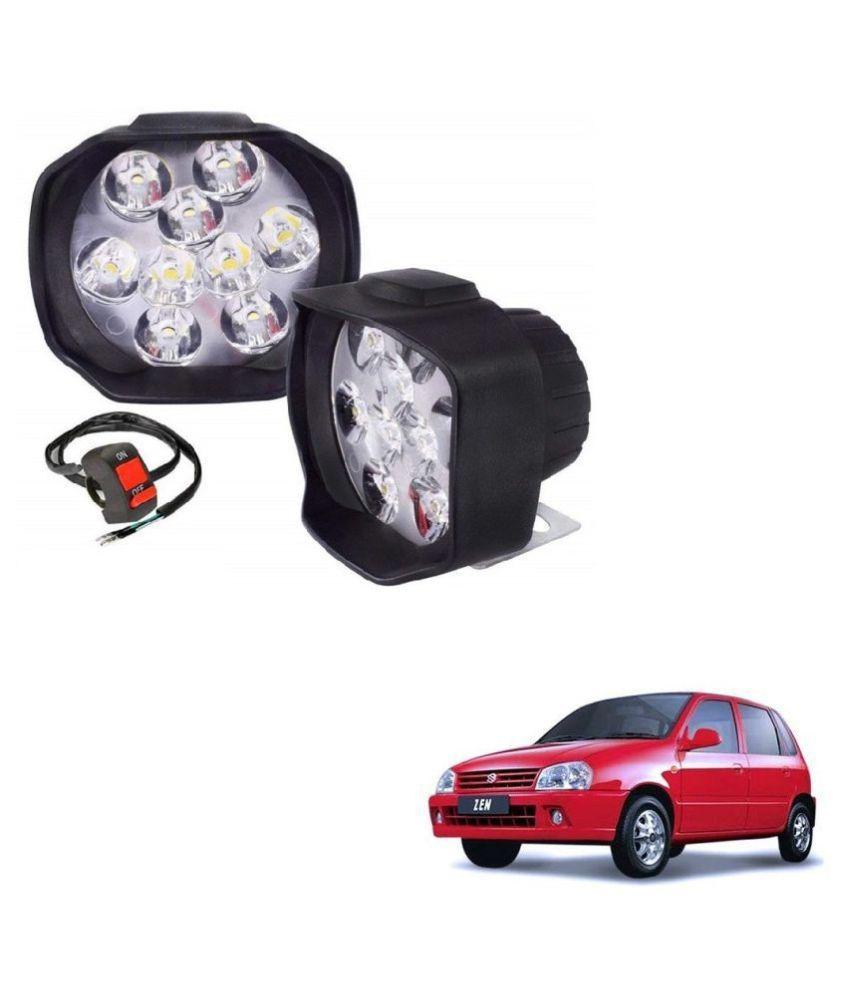 Auto Addict 9 LED 16W Anti-Fog Spot Light Auxiliary Headlight with Switch Set of 2 Pcs For Maruti Suzuki Zen