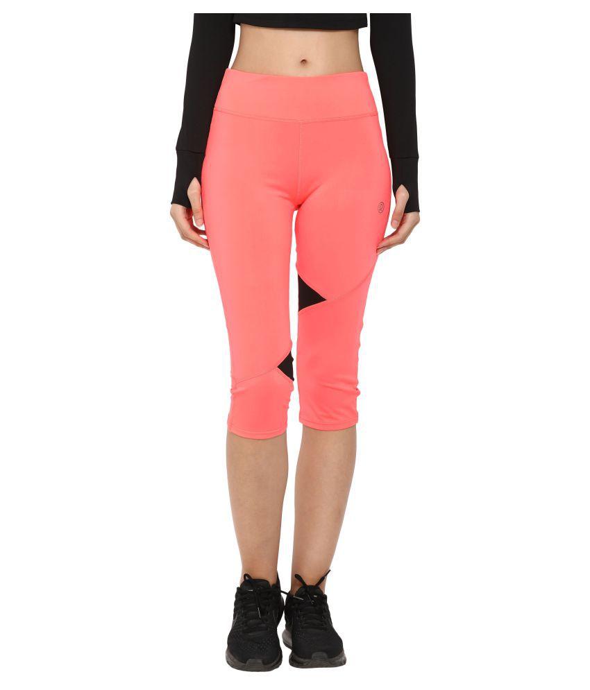 CHKOKKO Polyester Stretchable High Waist Sportswear Active Yoga Workout Gym Capri for Women