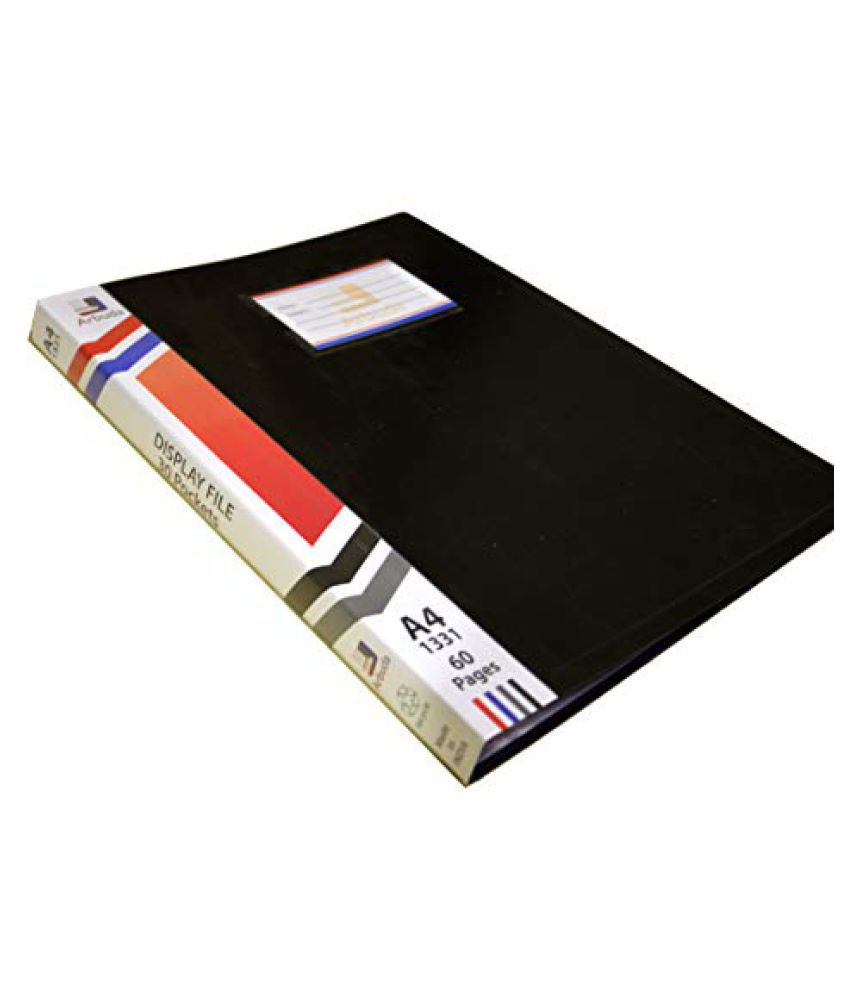 Arbuda A4 Size Plastic Display Book Clear Folder File with 30 Pockets (Black) Qty 1 NO.