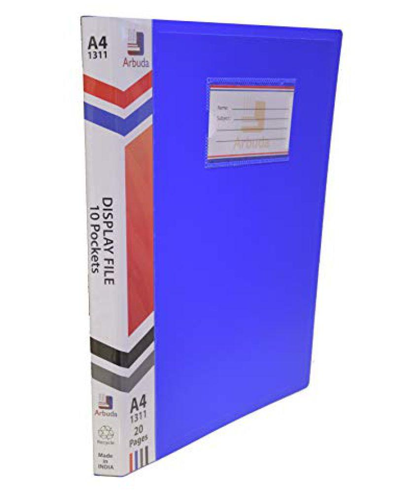 Display Book Arbuda Clear Folder Plastic File Display Presentation File 10 Pockets Blue Colour A4 Size Qty 1 No