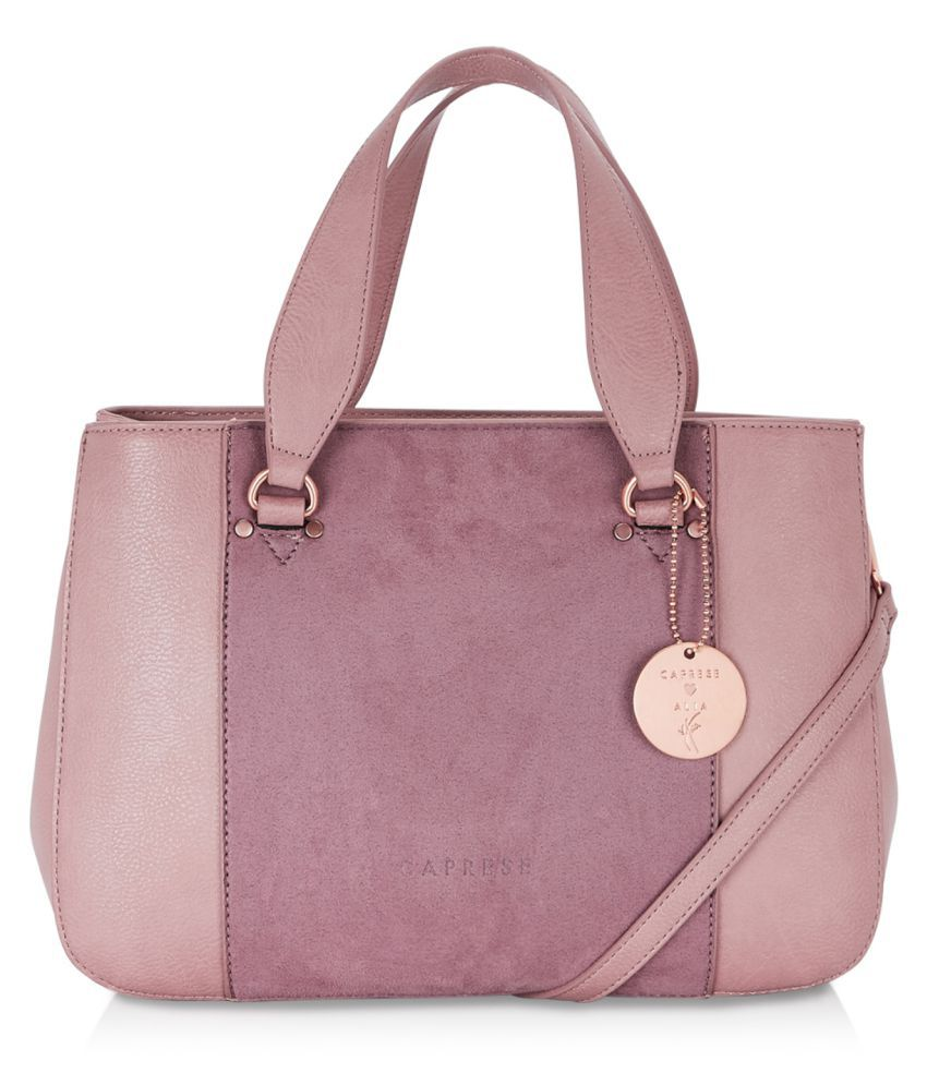Caprese Pink Faux Leather Satchel Bag