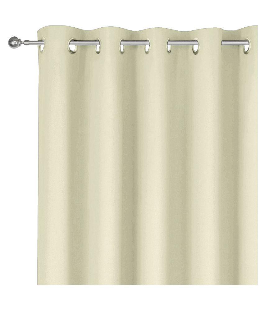 Story@Home Single Window Blackout Room Darkening Eyelet Silk Curtains Beige