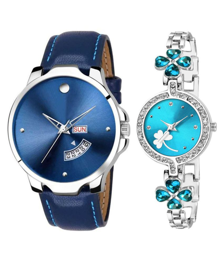 Selveen enteprise Blue Dial Day And Date New Stylish Couple Watch For Men And Women DR183