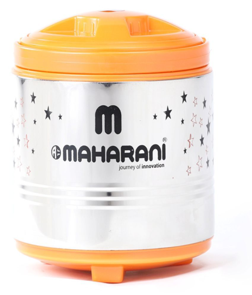 aeMAHARANI Orange Steel Lunch Box