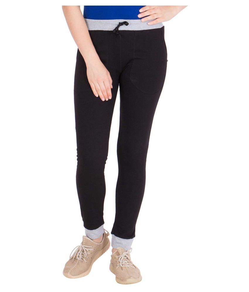 American-Elm Black Cotton Solid Tights