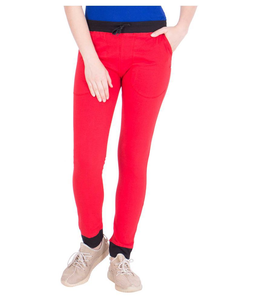 American-Elm Red Cotton Blend Solid Tights