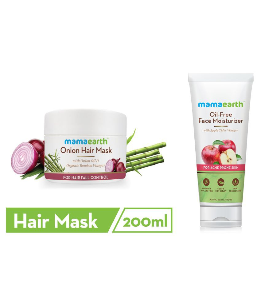 Mamaearth's Onion Hair Mask For Dry & Frizzy Hair, Controls Hairfall and Boosts Hair Growth, With Onion & Organic Bamboo Vinegar\n200ml and Oil Free Moisturizer For Face With Apple Cider Vinegar For Acne Prone Skin, 80 ml