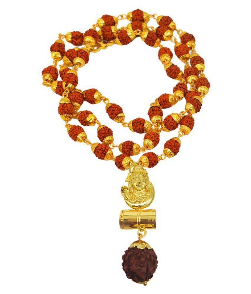 Men Style  Religious Jewelry Beautiful Great Hindu Shiv Om Damaru Locket  Panchmukhi Rudraksha Mala Gold-plated Brass, Wood Pendant Set